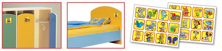 Комплект детских наклеек на шкафчики, кроватки в детском саду