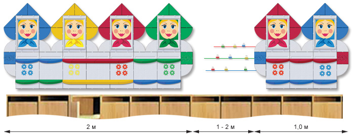 Стенды с полочками для детских поделок